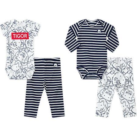 Kit Bebê Menino 4 Peças Tigor T. Tigre Branco Rn Menino
