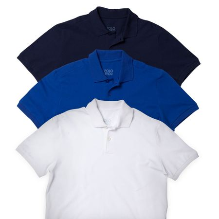 Camiseta Polo 4YOU Branca Azul e Marinho Adulto