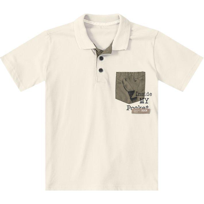 1d8767376f Camisa Polo Tigor T. Tigre Bege Menino - lojamarisol