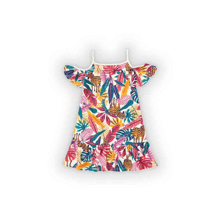 Vestido-Infantil-Menina-Com-Estampa-De-Folhagens---Bege