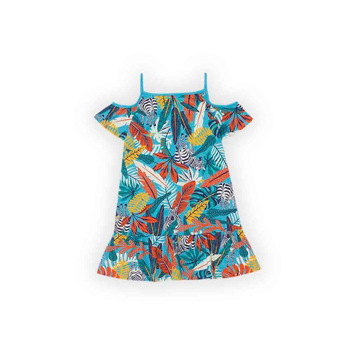 Vestido-Infantil-Menina-Com-Estampa-De-Folhagens---Azul