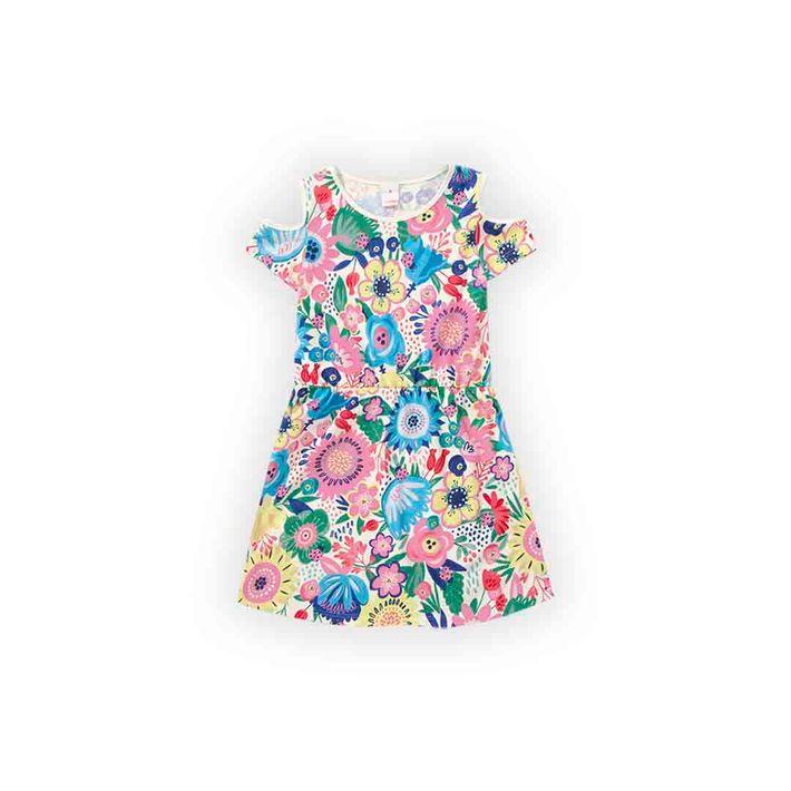 Vestido-Infantil-Menina-Com-Estampa-Floral---Bege