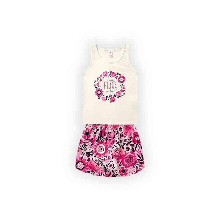 Conjunto-Infantil-Menina-Com-Estampa-Floral---Bege