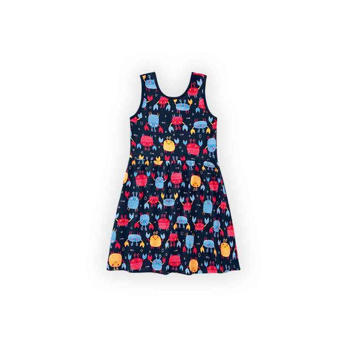 Vestido-Infantil-Menina-Com-Estampa-De-Caranguejinhos---Azul