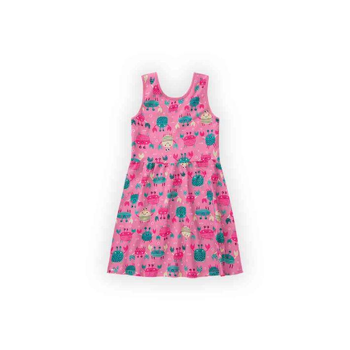 Vestido-Infantil-Menina-Com-Estampa-De-Caranguejinhos---Rosa