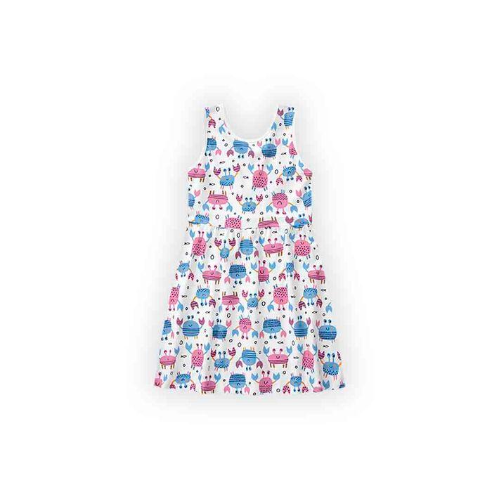 Vestido-Infantil-Menina-Com-Estampa-De-Caranguejinhos---Branco