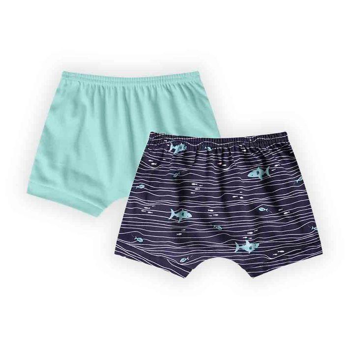 Kit-Short-2-Pecas-Infantil-Menino-Com-Estampa-De-Peixinhos---Azul