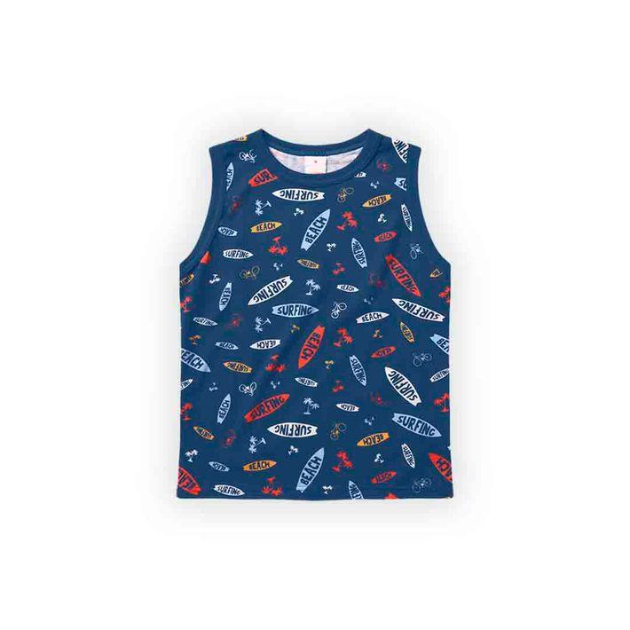 Camiseta-Regata-Infantil-Menino-Com-Estampa-Praiana---Azul