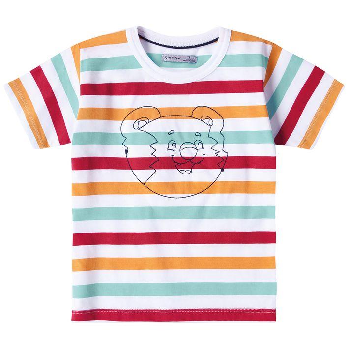 Camiseta-Bebe-Menino--Com-Estampa-Listrada---Branca