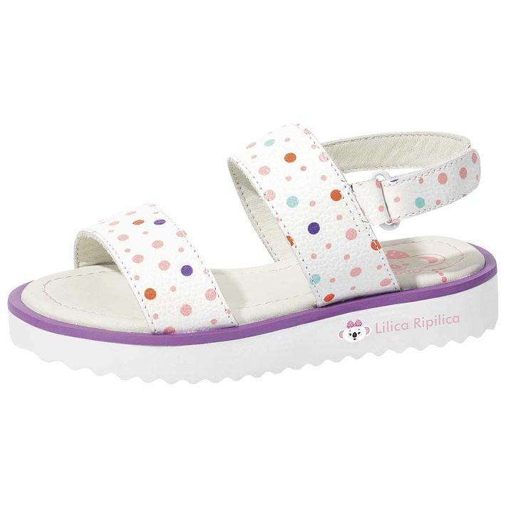 Sandalia-Mini-Dots-Print-Glow-Daily-Bebe-Menina-Com-Duas-Tiras-Em-Velcro---Branca