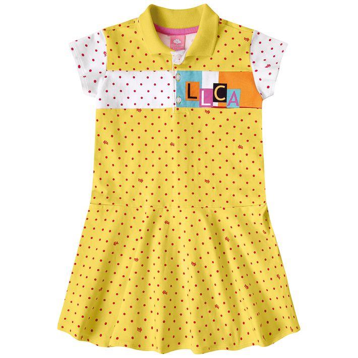 Vestido-Infantil-Menina-Com-Estampa-De-Bolinhas---Amarelo