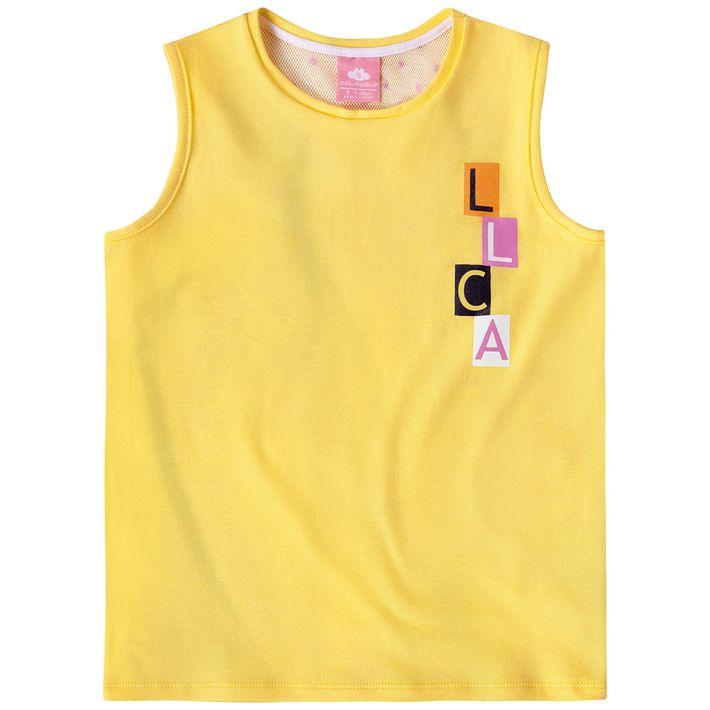 Blusa-Regata-Infantil-Menina-Com-Lettering-Da-Marca---Amarela