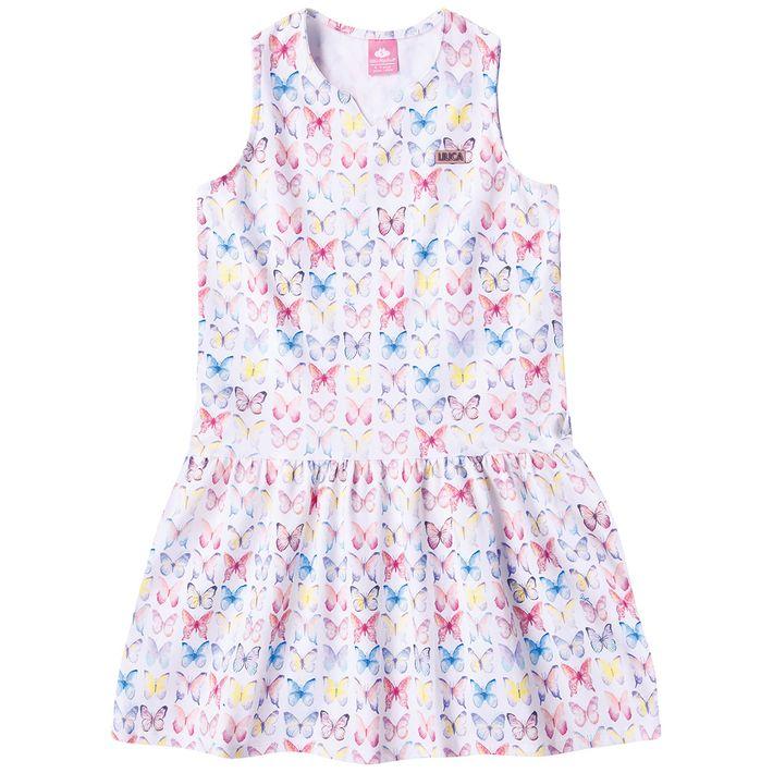 Vestido-Infantil-Menina-Com-Estampa-De-Borboletas---Branco