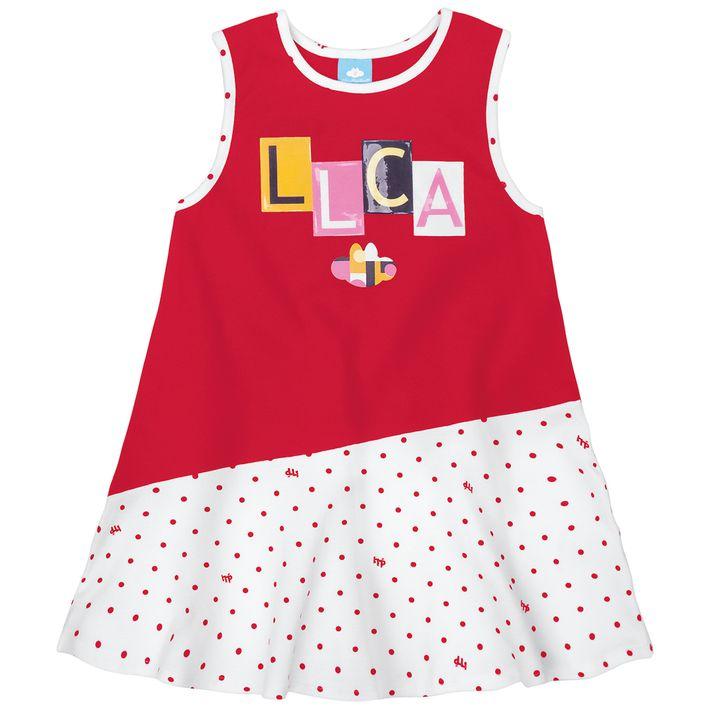 Vestido-Bebe-Menina-Com-Lettering-Da-Marca---Vermelho