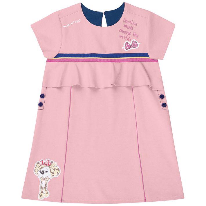 Vestido-Infantil-Menina-Com-Detalhe-De-Babado---Rosa