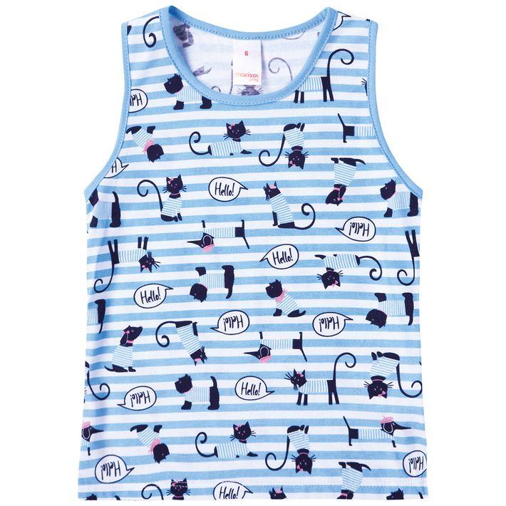 Blusa-Regata-Infantil-Menina-Com-Estampa-De-Gatinhos---Azul