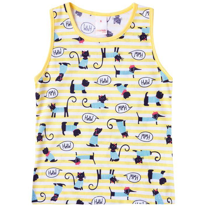 Blusa-Regata-Infantil-Menina-Com-Estampa-De-Gatinhos---Amarela
