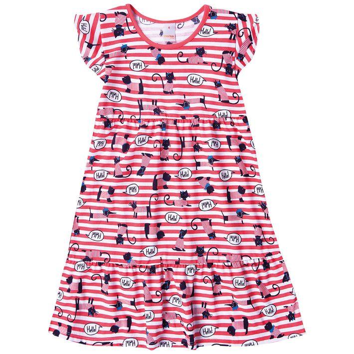 Vestido-Infantil-Menina-Com-Estampa-De-Gatinhos---Vermelho