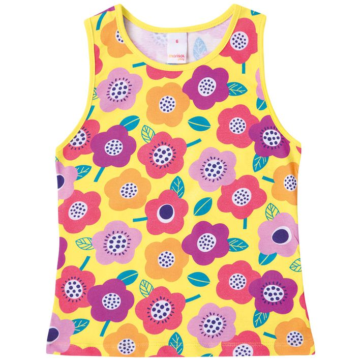 Blusa-Regata-Infantil-Menina-Com-Estampa-Floral---Amarela