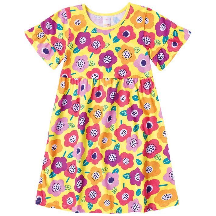 Vestido-Infantil-Menina-Com-Estampa-Floral---Amarelo