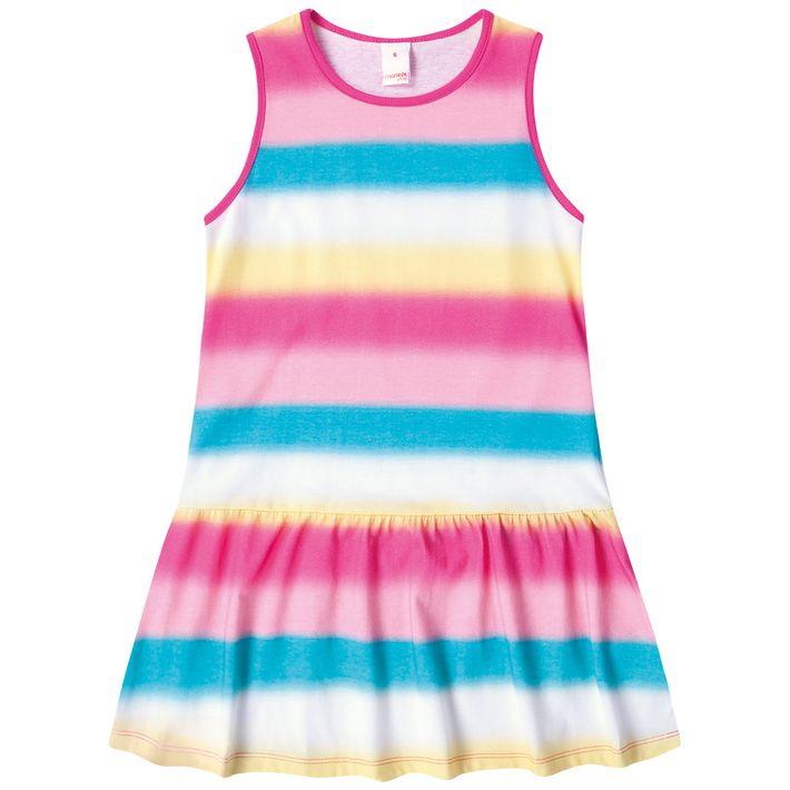 Vestido-Infantil-Menina-Com-Estampa-Listrada---Rosa