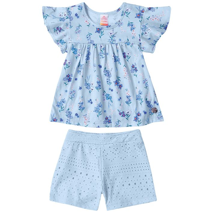 Conjunto-Infantil-Menina-Com-Estampa-Floral---Azul