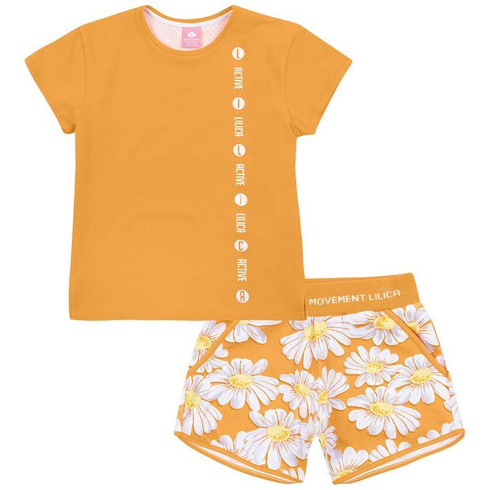 Conjunto-Infantil-Menina-Com-Estampa-Floral---Laranja